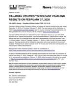Canadian Utilities Q4-2019 Pre-earnings (CNW Group/Canadian Utilities Limited)
