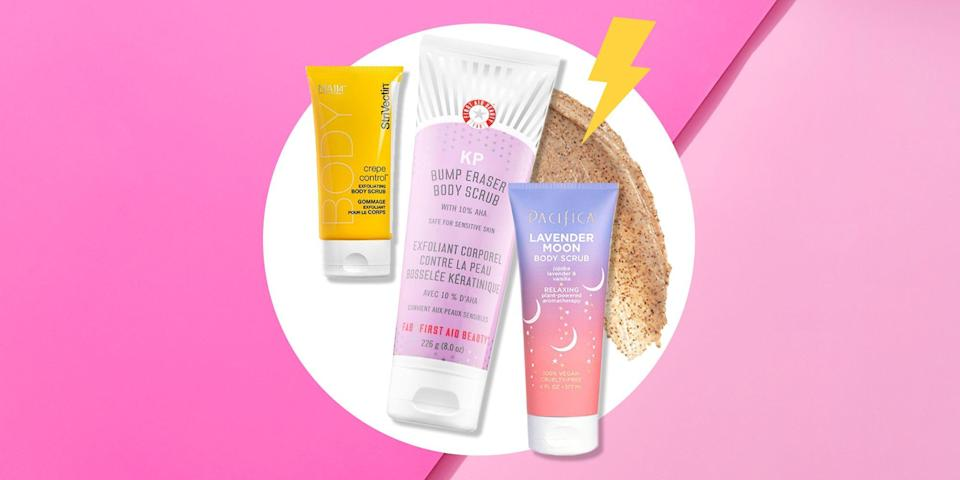 """<p>Exfoliating is one of the major tenets of skincare and is in fact key to having a glowing visage. Yet, even as we spend hours on end searching for the <a href=""""https://www.womenshealthmag.com/beauty/a32971782/skin-awards-2020/"""" rel=""""nofollow noopener"""" target=""""_blank"""" data-ylk=""""slk:best facial scrubs"""" class=""""link rapid-noclick-resp"""">best facial scrubs </a>to target blackheads and asking our <a href=""""https://www.womenshealthmag.com/derm-diaries/"""" rel=""""nofollow noopener"""" target=""""_blank"""" data-ylk=""""slk:dermatologists"""" class=""""link rapid-noclick-resp"""">dermatologists</a> which <a href=""""https://www.womenshealthmag.com/beauty/g30025928/chemical-peel-at-home/"""" rel=""""nofollow noopener"""" target=""""_blank"""" data-ylk=""""slk:chemical peel"""" class=""""link rapid-noclick-resp"""">chemical peel </a>or <a href=""""https://www.womenshealthmag.com/beauty/a34494967/laser-skin-tightening/"""" rel=""""nofollow noopener"""" target=""""_blank"""" data-ylk=""""slk:laser"""" class=""""link rapid-noclick-resp"""">laser</a> will most effectively get rid of dead skin, the skin below our neck has been building up for years. Time to slough it off with a body scrub. </p><p>Regularly exfoliating your body has the ability to boost circulation, unclog pores, and buff away dead skin cells, leaving skin smoother, brighter, and healthier. As with the skin on your face, there are two different ways to exfoliate the skin on your body—chemically (i.e. acids like AHAs and BHAs) or physically/manually (i.e. scrubs like sugar and salt). While it's typically safer to use a chemical exfoliant on your face (it's more sensitive), your body can usually take on both. New to body scrubs? Try just using one once a week to get started, suggests <a href=""""https://www.instagram.com/monagoharadermdoc/"""" rel=""""nofollow noopener"""" target=""""_blank"""" data-ylk=""""slk:Mona Gohara"""" class=""""link rapid-noclick-resp"""">Mona Gohara</a>, MD, a dermatologist in Connecticut. She also recommends choosing hydrating formulas that will restore moisture as they scrubbing away all that dead ski"""