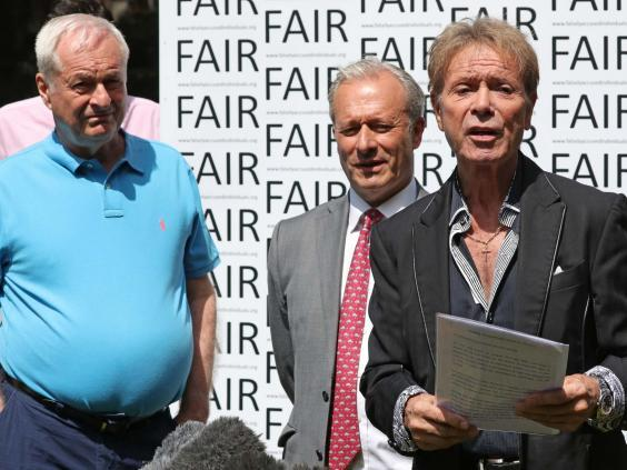 Paul Gambaccini, Daniel Janner and Sir Cliff Richard at an event in Westminster, London, to launch a campaign for a ban on naming sexual crime suspects unless they are charged (Jonathan Brady/PA Wire)