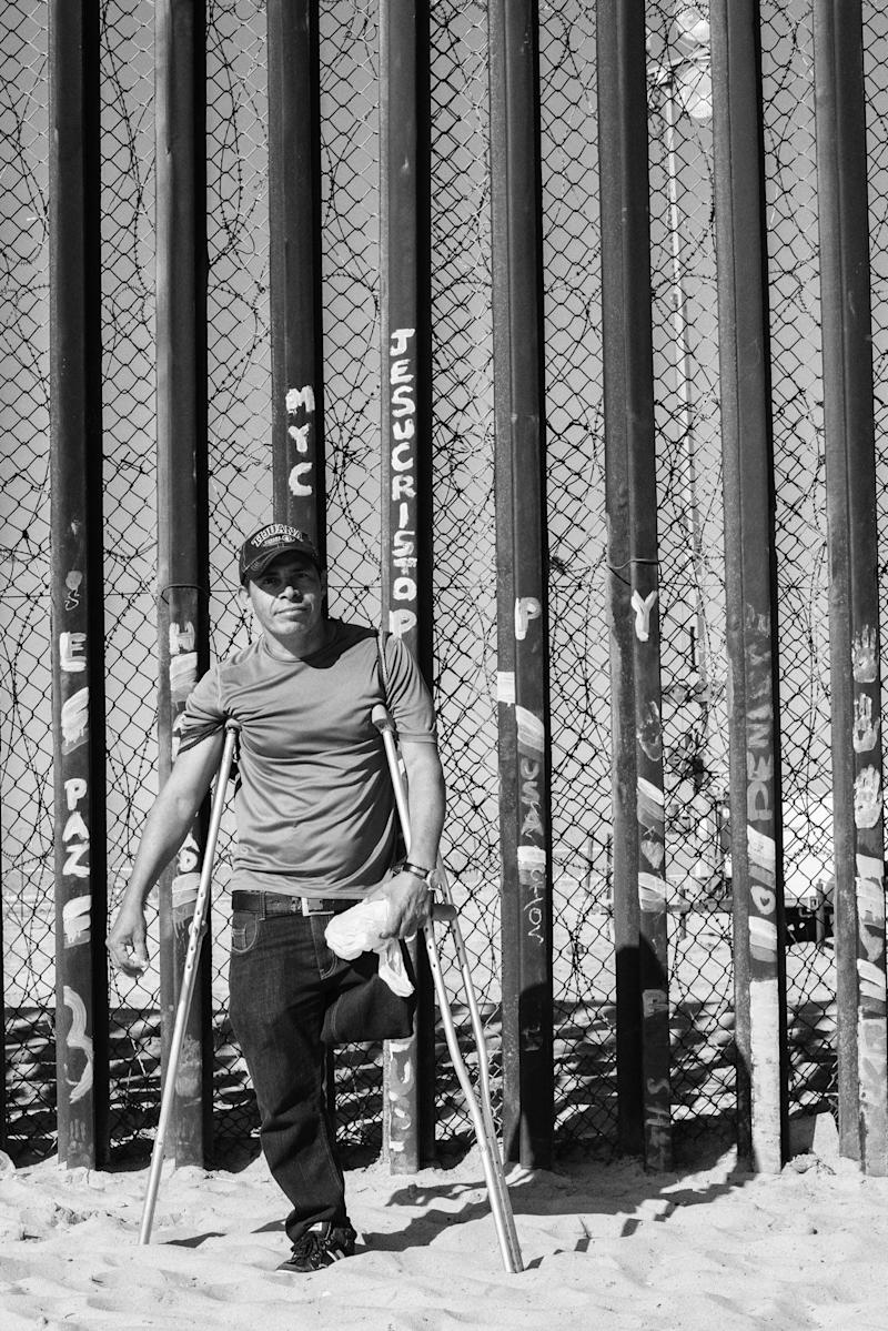 """Concención, a 45-year-old migrant from Honduras, lost his leg on the infamous La Bestia, otherwise known as """"The Train of Death."""" Utilized by U.S.-bound migrants to traverse Mexico quickly, the trains transport hundreds of thousands of migrants annually."""