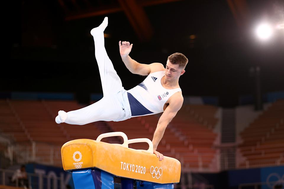 Max Whitlock of Britain on the pommel horse (Picture: Reuters) during training