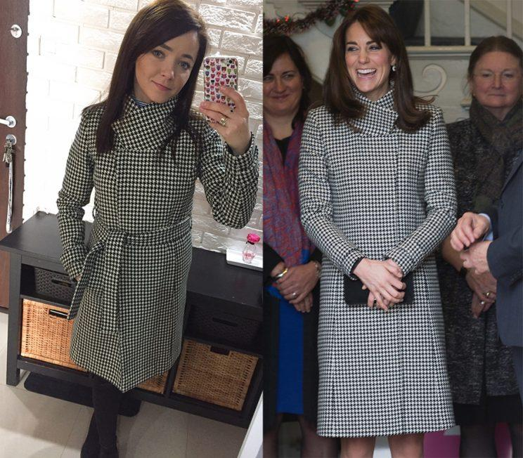 Kate Urbanska models her version of Kate Middleton's black-and-white Reiss wrap coat.