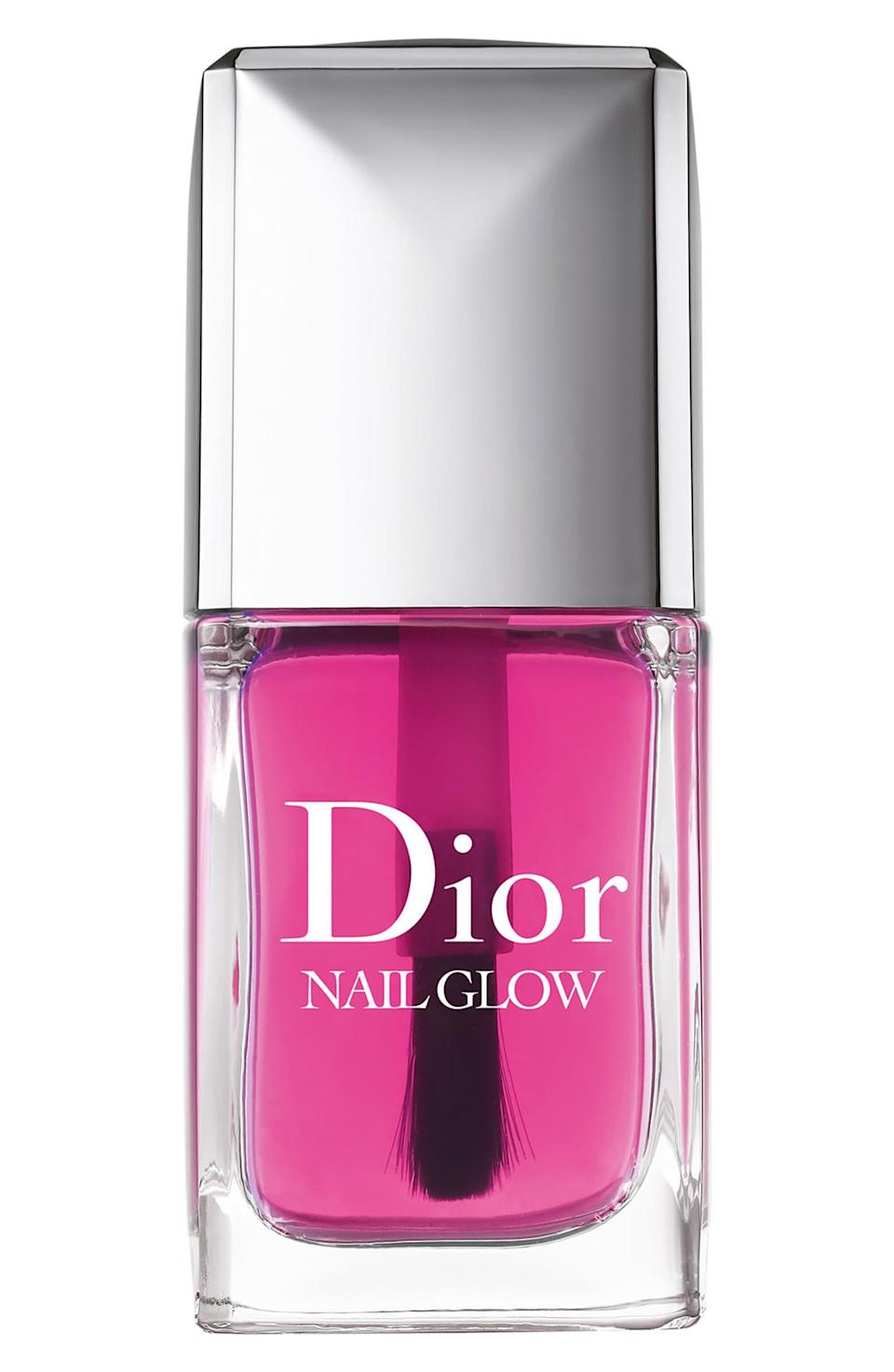 """<h3>Dior Nail Glow Nail Enhancer<br></h3><br>Think of this sheer pink Dior polish like a <a href=""""https://www.refinery29.com/en-us/2018/01/185962/dior-addict-lip-glow-balm-review"""" rel=""""nofollow noopener"""" target=""""_blank"""" data-ylk=""""slk:Lip Glow"""" class=""""link rapid-noclick-resp"""">Lip Glow</a> for your fingernails. Brush a light coat on bare nails, and watch as your pinks go pinker and whites go whiter for a your-nails-but-better effect.<br><br><strong>Dior</strong> Nail Glow Nail Enhancer, $, available at <a href=""""https://go.skimresources.com/?id=30283X879131&url=https%3A%2F%2Fshop.nordstrom.com%2Fs%2Fdior-nail-glow-nail-enhancer%2F3478311"""" rel=""""nofollow noopener"""" target=""""_blank"""" data-ylk=""""slk:Nordstrom"""" class=""""link rapid-noclick-resp"""">Nordstrom</a>"""