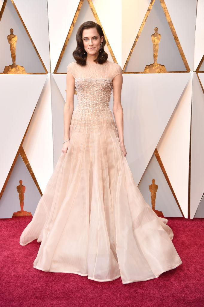 """<p><i>Get Out</i>'s leading lady, Allison Williams, wore an Armani Privé gown and an Old Hollywood hairstyle. In <a rel=""""nofollow noopener"""" href=""""https://www.instagram.com/p/Bf6cnRjhUBw/?hl=en&taken-by=aw"""" target=""""_blank"""" data-ylk=""""slk:a pre-show Instagram post"""" class=""""link rapid-noclick-resp"""">a pre-show Instagram post</a>, Williams gushed about her good fortune. """"She dreamed about it all, and now it's happening,"""" Williams wrote of her younger self. (Photo: Getty Images) </p>"""