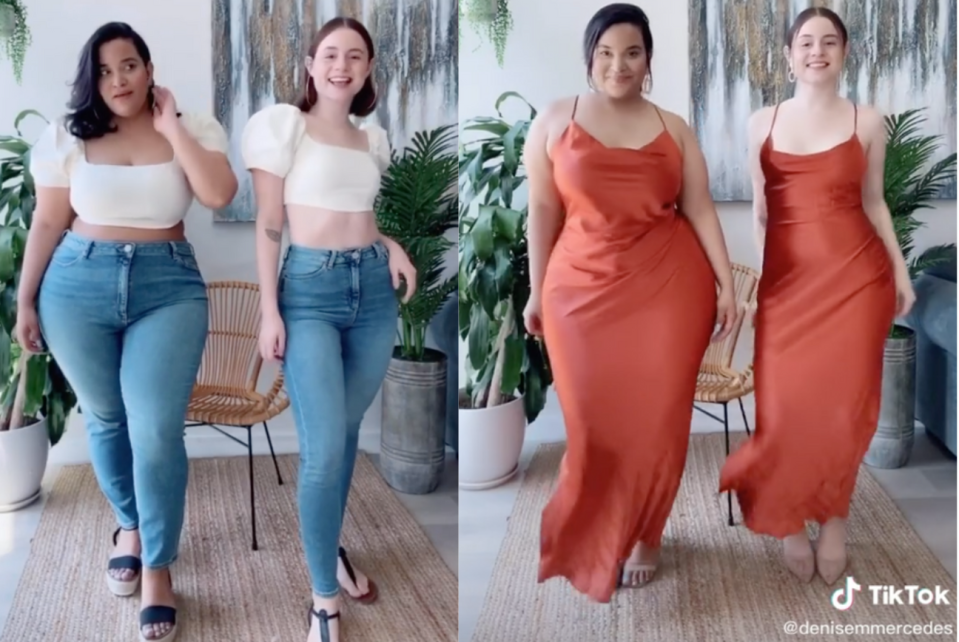 Best Friends Viral Tiktok Videos Show What Clothes Look Like On Different Body Types