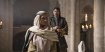 "This image provided by Amazon Prime Video shows Elia Galera as Elia Galera, left, and Carlos Bardemin as Conde de Leon in a scene from ""El Cid."" The series premieres Dec. 18, 2020. (Amazon Prime Video via AP)"