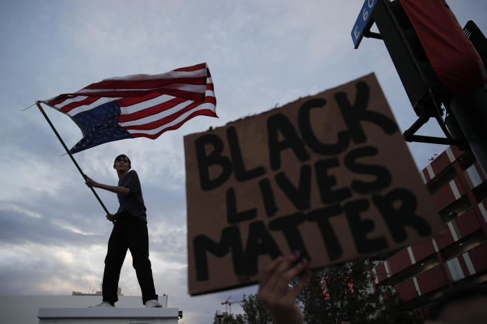 Protesters demonstrate in Las Vegas over the death of George Floyd. (John Locher/AP)