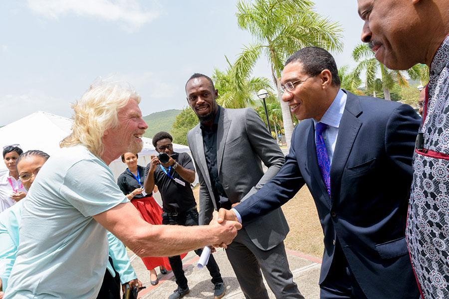 Richard Branson, Jamaican Olympic sprinter Usain Bolt and Jamaican Prime Minister Andrew Holness