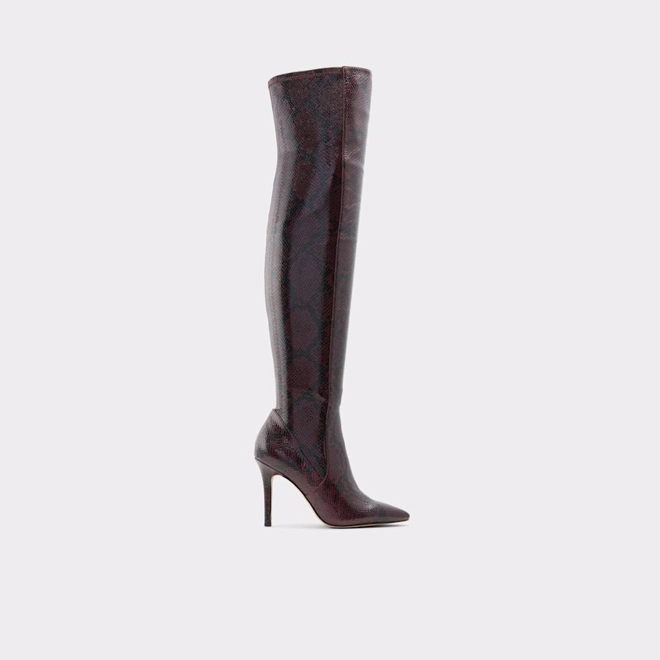<p><span>Aldo Ideeza Bordo Women's Snakeskin Print Boot</span> ($49, originally $140)</p>