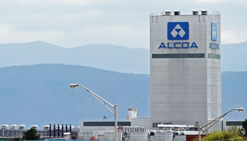 The Great Smoky Mountains are shown in the background in this view of the Alcoa Aluminum plant in Alcoa