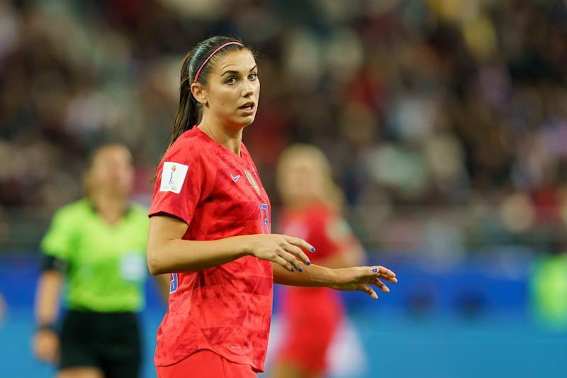 REIMS, FRANCE - JUNE 11: Alex Morgan of USA looks on during the 2019 FIFA Women's World Cup France group F match between USA and Thailand at Stade Auguste Delaune on June 11, 2019 in Reims, France. (Photo by TF-Images/Getty Images)