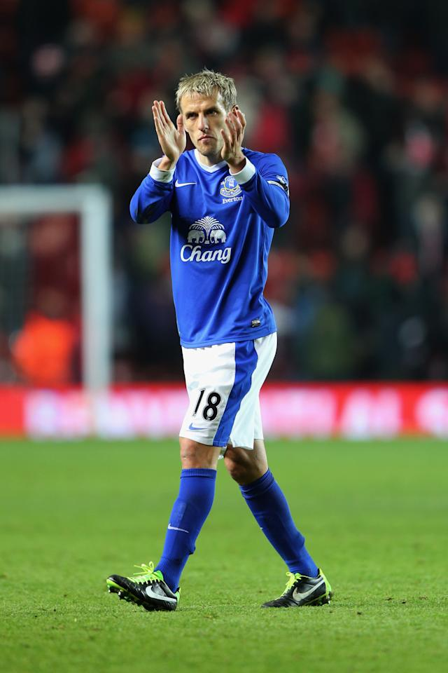 SOUTHAMPTON, ENGLAND - JANUARY 21:  Phil Neville of Everton applauds the travelling fans after the Barclays Premier League match between Southampton and Everton at St Mary's Stadium on January 21, 2013 in Southampton, England.  (Photo by Ian Walton/Getty Images)