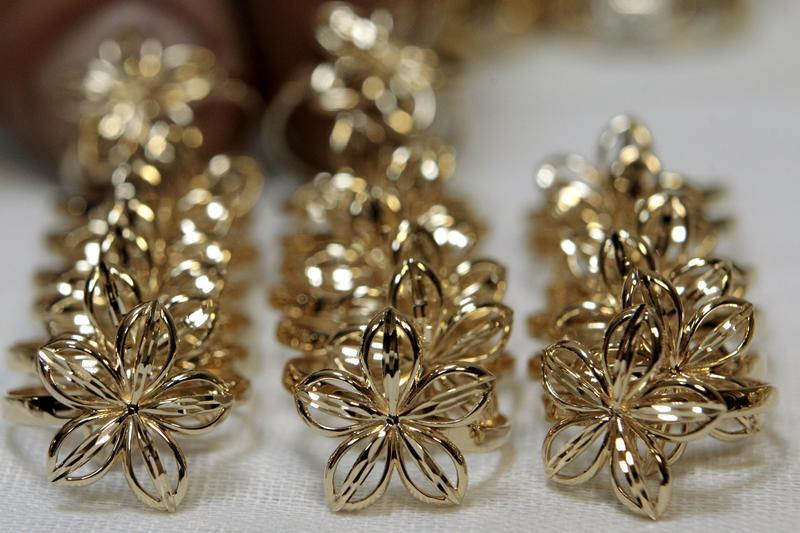 Jewelry made from gold is laid out at Zorka, a jewelry factory, in Minsk