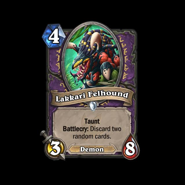<p>Cheaply costed, high health Taunt minions often find a place in control decks, but Lakkari Felhound's downside is pretty brutal without an immediately powerful effect like Doomguard. </p>