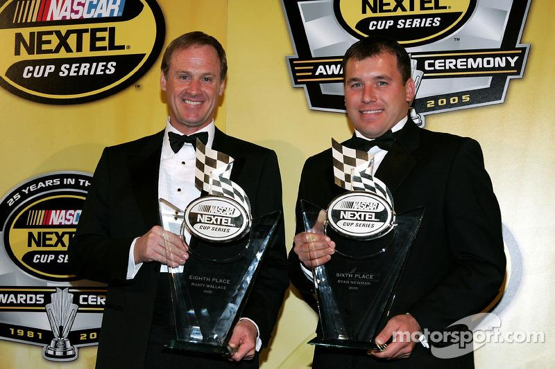 "Rusty Wallace (left) delivered Penske 37 wins in NASCAR, but it was Ryan Newman (right) who landed the team's first Daytona 500 victory, in 2008. <span class=""copyright"">Getty Images</span>"