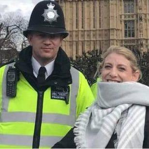 The last known picture of Pc Palmer with US tourist Staci Martin, taken 45 minutes before he was killed