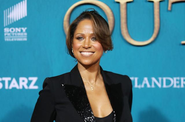 "Stacey Dash attends the Los Angeles Premiere of Starz's ""Outlander"" Season 5 held at Hollywood Palladium on February 13, 2020 in Los Angeles, California. (Photo by Michael Tran/Getty Images)"