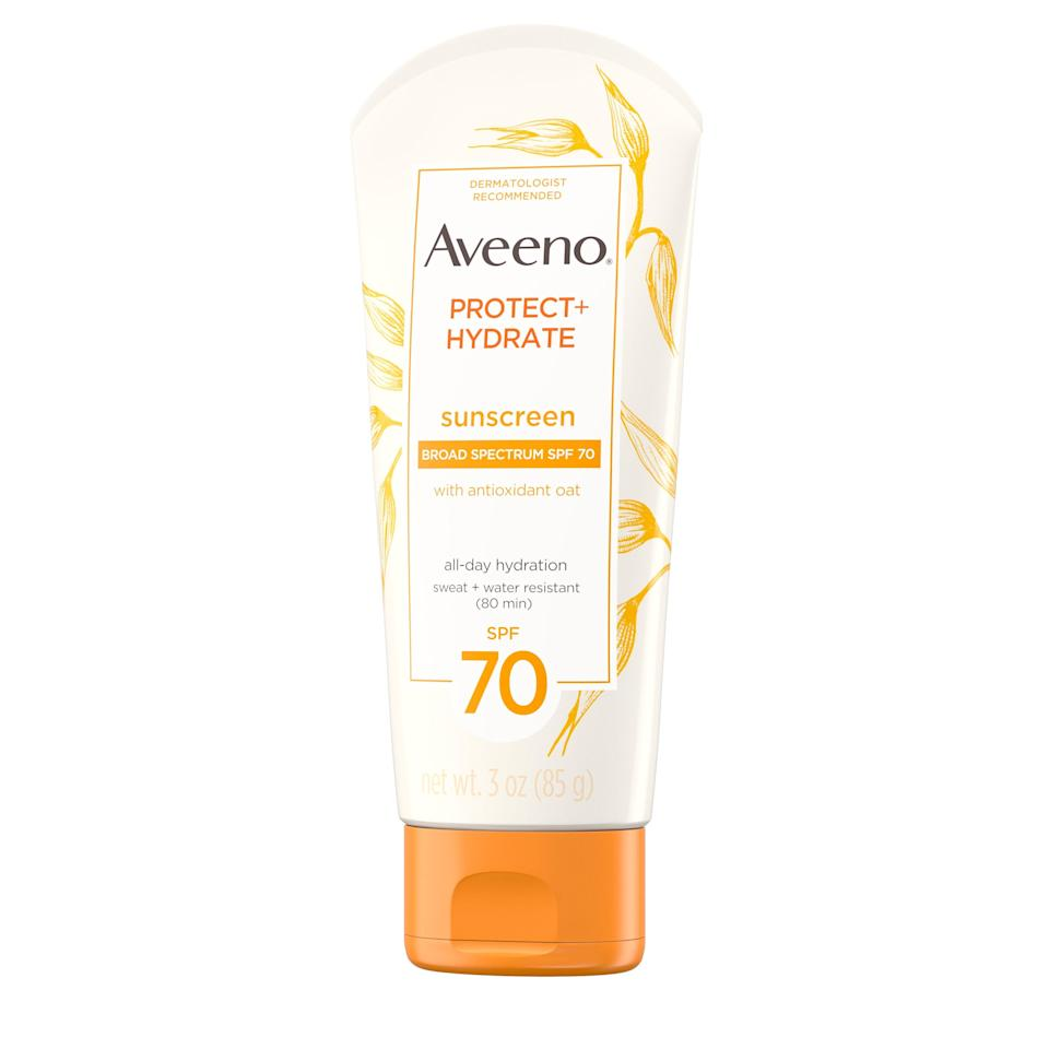 Aveeno's Protect + Hydrate Lotion Sunscreen Broad Spectrum SPF 70 with skin-soothing colloidal oatmeal isn't too heavy, calms existing irritation, and is drugstore accessible. Anything else you need to hear?