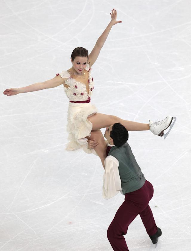 Anna Cappellini and Luca Lanotte of Italy compete in the ice dance free dance figure skating finals at the Iceberg Skating Palace during the 2014 Winter Olympics, Monday, Feb. 17, 2014, in Sochi, Russia