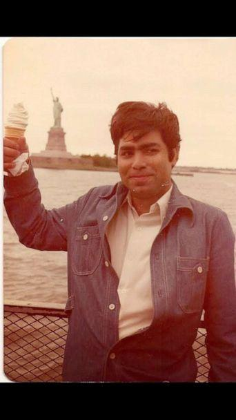 PHOTO: Himanshu Suri's father, Gireesh Suri, who passed away in April at 67, poses with the Statue of Liberty not long after moving to the U.S. from India. (Himanshu Suri)