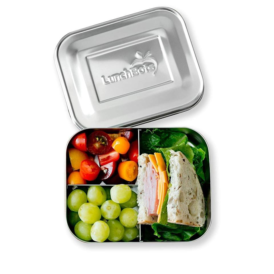 """Keep your lunch fresh and perfectly portioned with this stainless steel bento box. <strong><a href=""""https://amzn.to/2KCGU06"""" target=""""_blank"""" rel=""""noopener noreferrer"""">Find theLunchBots Medium Trio Stainless Steel Food Container for $25 on Amazon</a></strong>."""