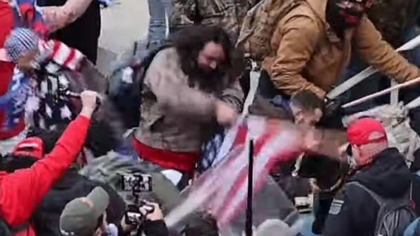 PHOTO: Peter Stager of Arkansas was charged for allegedly beating a police officer with an American flag during the attack on the U.S. Capitol, Jan. 6, 2021. (Christopher Chern via Storyful)