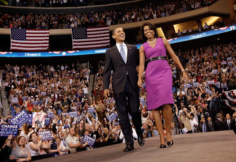 Michelle Obama supported her Chicago roots when she wore this brightly colored frock by Chicago-based designer Maria Pinto in 2008, when her husband was still a presidential hopeful.