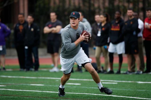 FILE - In this March 21, 2018, file photo, Southern California quarterback Sam Darnold pulls back to throw a pass during USC Pro Day, in Los Angeles. Darnold Darnold is expected top be a first round pick in the NFL Draft. (AP Photo/Jae C. Hong, File)