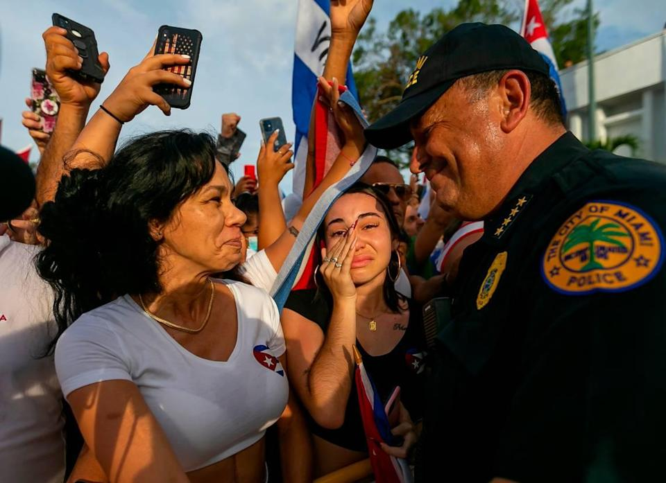 City of Miami Police Chief Art Acevedo talks with protesters during a rally on Calle Ocho near Versailles Restaurant in Miami's Little Havana neighborhood on July 14, 2021. The rally was held in solidarity with the protests happening in Cuba.