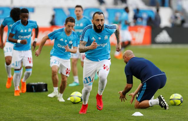 Soccer Football - Ligue 1 - Olympique de Marseille vs LOSC Lille - Orange Velodrome, Marseille, France - April 21, 2018 Marseille's Konstantinos Mitroglou during the warm up before the match REUTERS/Philippe Laurenson