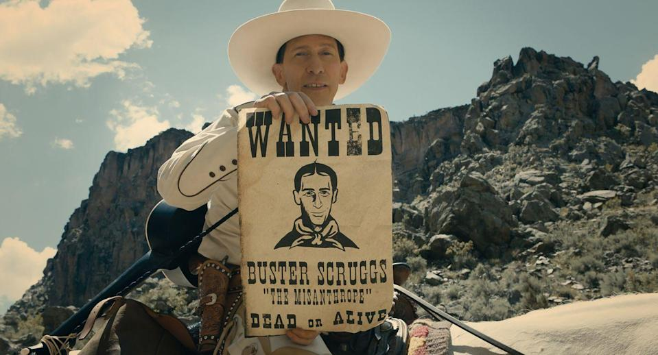 """<p>The Coen Brothers teamed up with the streaming service for this Netflix original, an anthology film featuring six stories set in the American west that's full of outlaws, pioneer women, double-crossing, and one singing cowboy.</p><p><a class=""""link rapid-noclick-resp"""" href=""""https://www.netflix.com/watch/80200267?trackId=13752289&tctx=0%2C0%2C2bda9c83-ee34-4074-8458-fca00f1c5621-29915830%2C%2C"""" rel=""""nofollow noopener"""" target=""""_blank"""" data-ylk=""""slk:Watch Now"""">Watch Now</a></p>"""