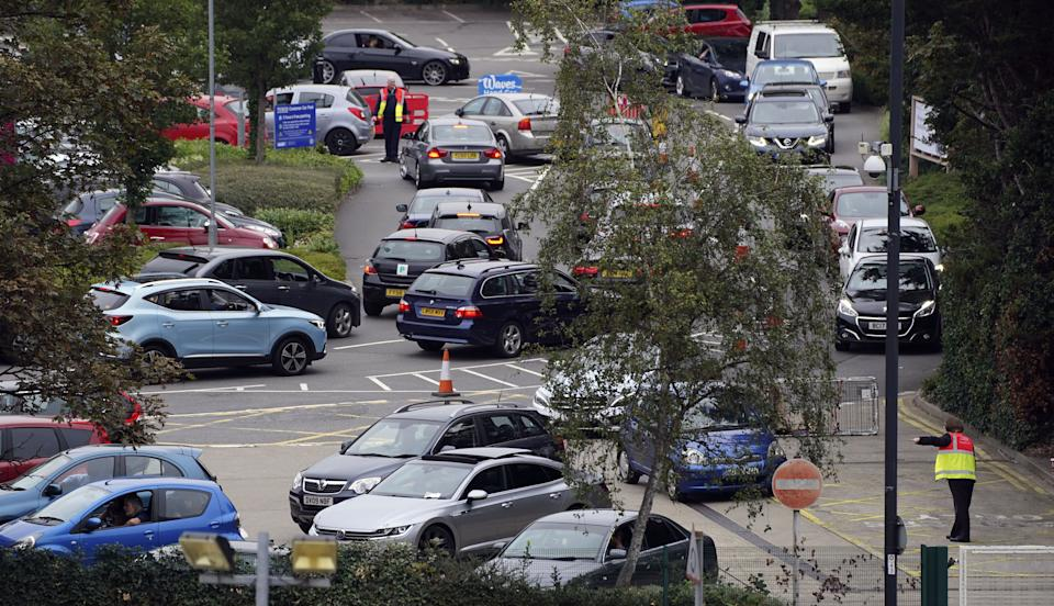 Cars queue outside a Tesco petrol station in Slough, Berkshire. Picture date: Saturday September 25, 2021. (Photo by Steve Parsons/PA Images via Getty Images)