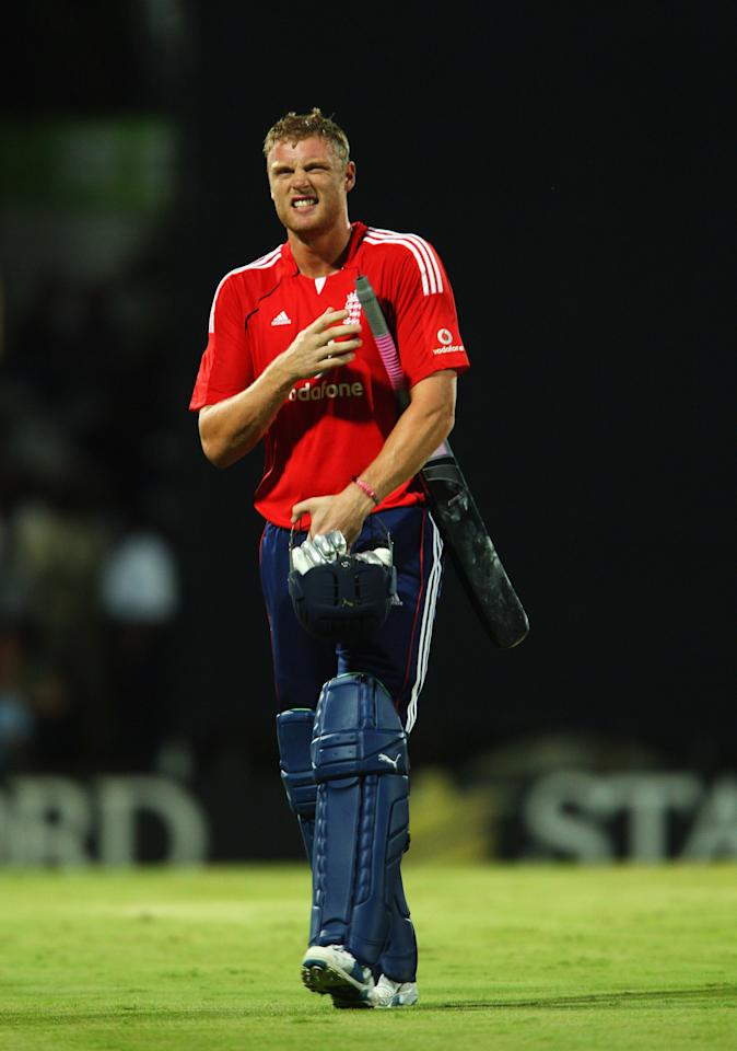 ST. JOHN'S, ANTIGUA AND BARBUDA - NOVEMBER 01: Andrew Flintoff of England walks off after his dismissal during the Stanford Twenty20 Super Series 20/20 for 20 match between Stamford Superstars and England at the Stanford Cricket Ground on November 1, 2008 in St Johns, Antigua  (Photo by Tom Shaw/Getty Images)