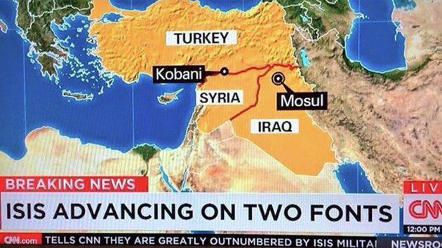In 2014, CNN accidentally reported that ISIS are advancing on two fonts. Photo: Twitter