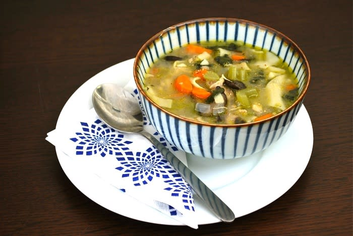 """<div class=""""caption-credit""""> Photo by: Image: Brooklyn Supper</div><div class=""""caption-title"""">Vegetable Kale Chicken Soup</div>As cold season ramps up, it's good to have a nice vegetable soup recipe at the ready; this one adds kale into the veggie mix for added nutrition and flavor! <i><br> <a rel=""""nofollow"""" href=""""http://www.babble.com/best-recipes/healthy-family-dinner-chicken-and-vegetable-noodle-soup/"""" target=""""_blank"""">Babble Food has the recipe</a></i>"""