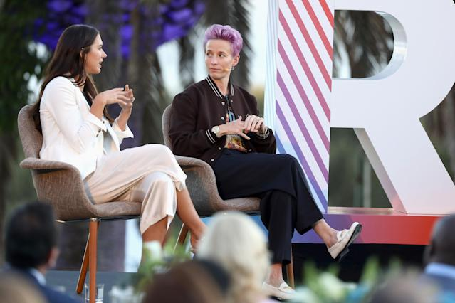 Two-time World Cup champions Alex Morgan and Megan Rapinoe will share the microphone with black voices. (Rich Polk/Getty Images for Xandr)