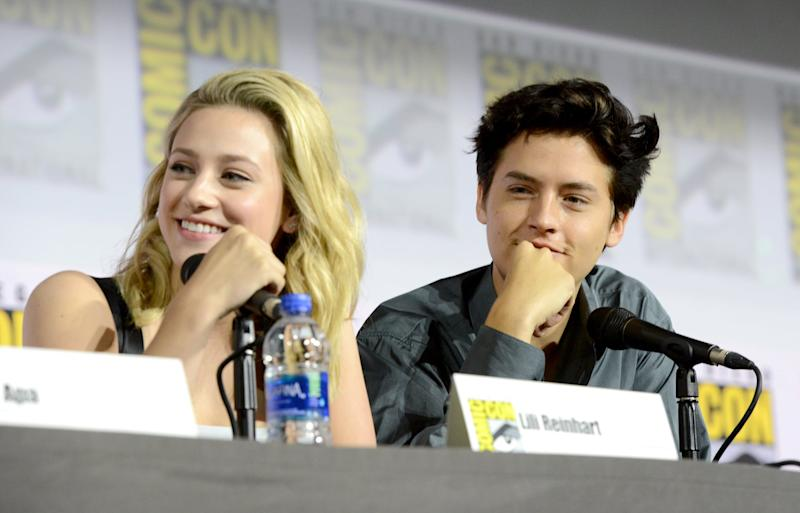SAN DIEGO, CALIFORNIA - JULY 21: Lili Reinhart and Cole Sprouse speak at the
