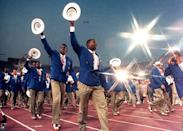 <p>In 1992, Team USA looked dapper in royal blue double-breasted blazers and khakis, completing their opening ceremony outfits with red, white and blue wingtip shoes and a white hat. </p>