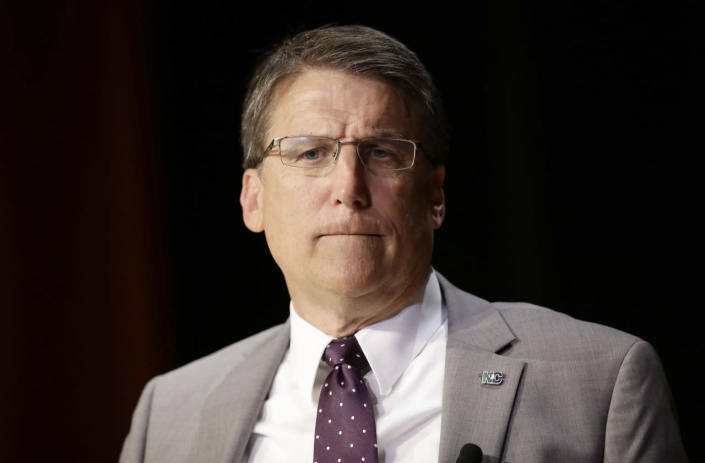 <p>North Carolina Gov. Pat McCrory pauses while making comments concerning House Bill 2 during a government affairs conference in Raleigh, N.C., on May 4, 2016. <i>(Gerry Broome/AP)</i></p>