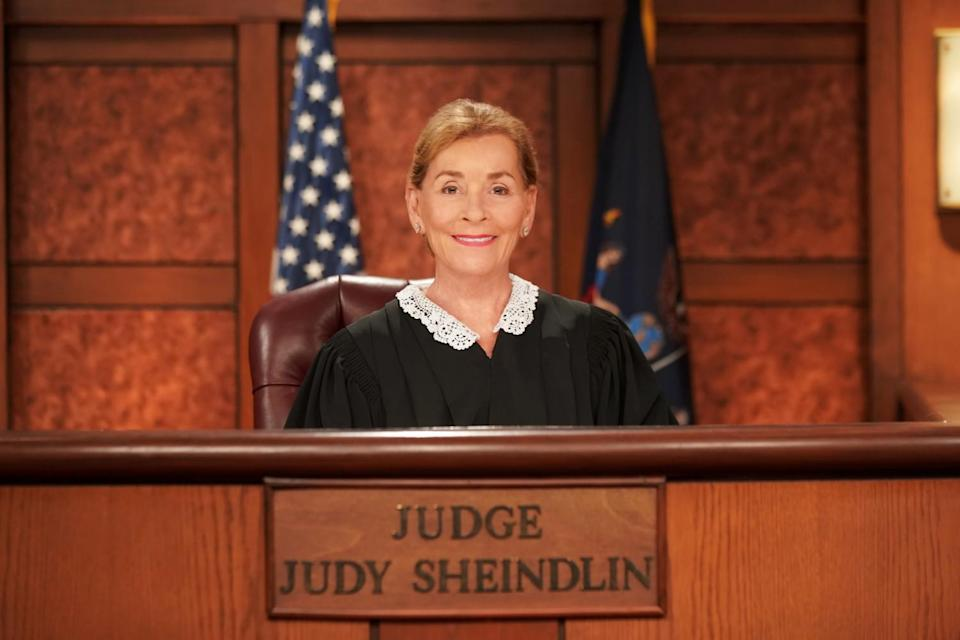 Judge Judy on the bench in her TV courtroom