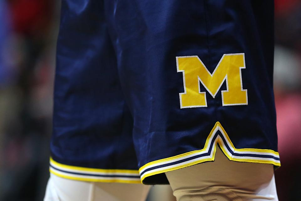 PISCATAWAY, NJ - FEBRUARY 05: The logo of the Michigan Wolverines on the uniform shorts worn by Charles Matthews #1 during a game against the Rutgers Scarlet Knights at Rutgers Athletic Center on February 5, 2019 in Piscataway, New Jersey. Michigan defeated Rutgers 77-65. (Photo by Rich Schultz/Getty Images)