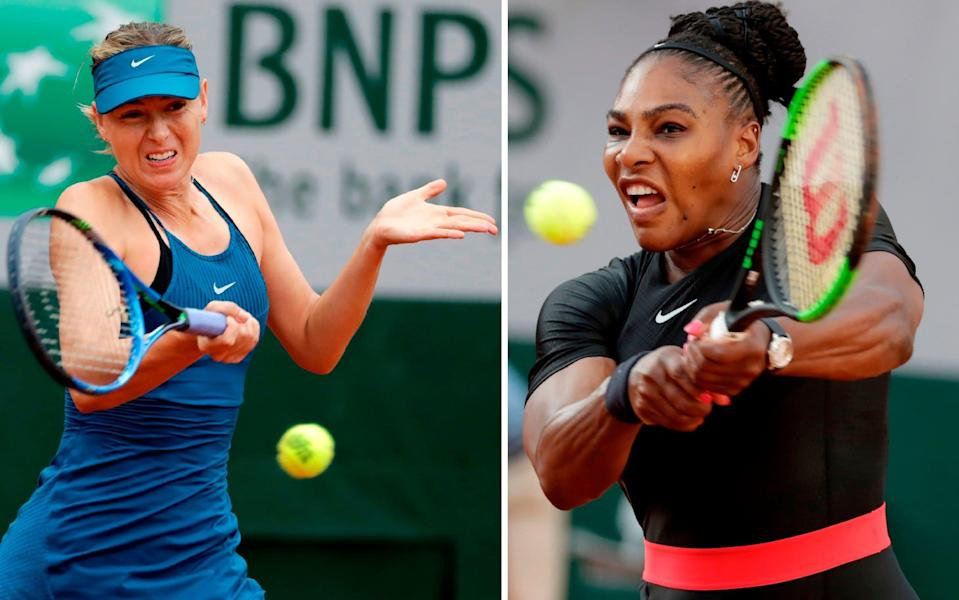 Maria Sharapova and Serena Williams will face off in the US Open first round - AFP