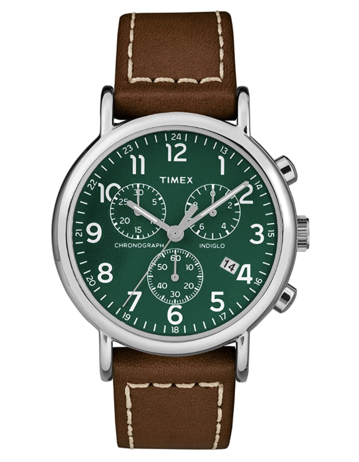 brown leather timex watch with silver and dark green watch face