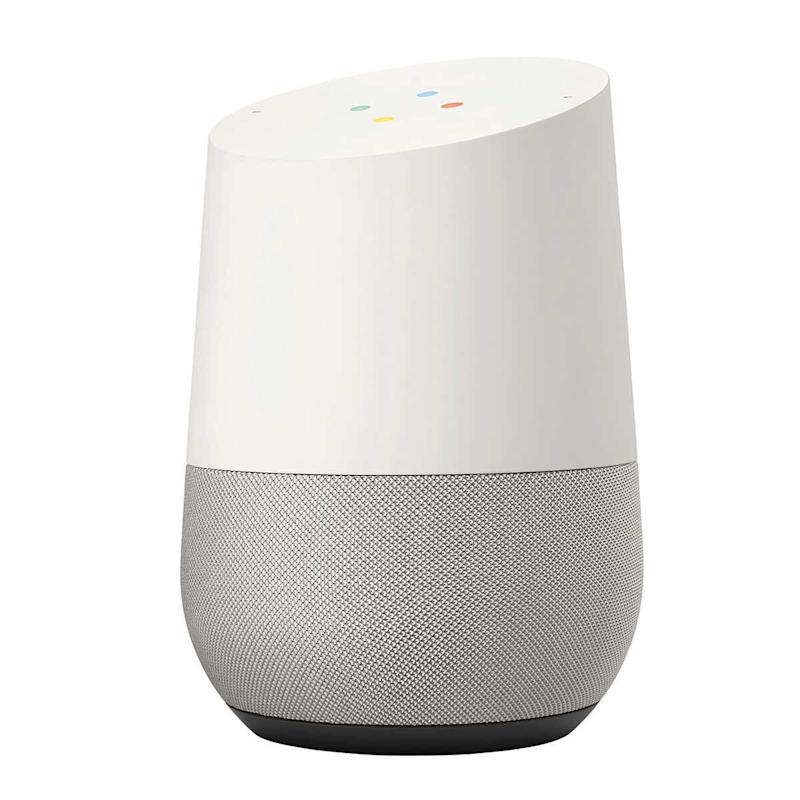 """OK Google, text my friends and tell them I'm staying in tonight."" Get it for $69 at <a href=""https://www.bestbuy.ca/en-ca/product/google-home-white-slate/10721100"" target=""_blank"" rel=""noopener noreferrer"">Best Buy</a>."