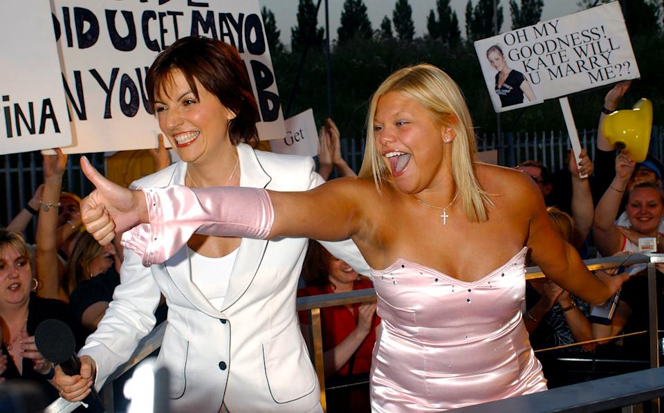 Dental nurse Jade Goody greets presenter Davina McCall as she leaves the Big Brother house at Elstree Studios in Hertfordshire to become the ninth contestant to be evicted as the fly-on-the-wall show reached its dramatic finale.