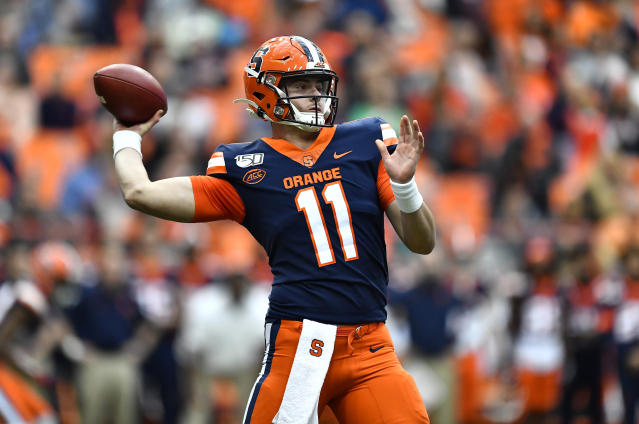 Syracuse quarterback Clayton Welch throws a pass from the pocket against Wake Forest during the first half of an NCAA college football game in Syracuse, N.Y., Saturday, Nov. 30, 2019. (AP Photo/Adrian Kraus)