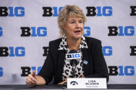 Iowa women's head coach Lisa Bluder addresses the media during the first day of the Big Ten NCAA college basketball media days, Thursday, Oct. 7, 2021, in Indianapolis. (AP Photo/Doug McSchooler)
