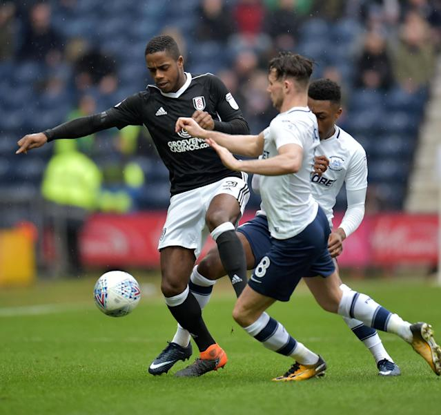 "Soccer Football - Championship - Preston North End vs Fulham - Deepdale, Preston, Britain - March 10, 2018 Fulham's Ryan Sessegnon in action with Preston's Alan Browne Action Images/Paul Burrows EDITORIAL USE ONLY. No use with unauthorized audio, video, data, fixture lists, club/league logos or ""live"" services. Online in-match use limited to 75 images, no video emulation. No use in betting, games or single club/league/player publications. Please contact your account representative for further details."