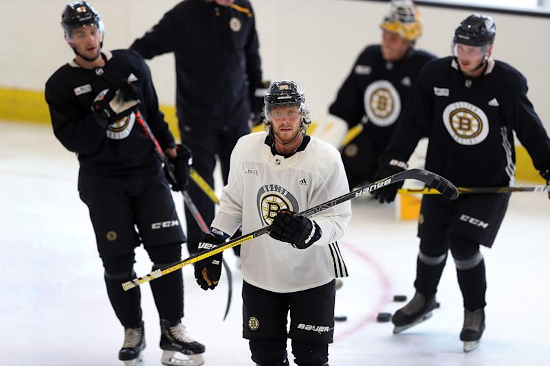 BOSTON - JULY 15: David Pastrnak hits the ice at day 2 of Boston Bruins summer training camp at Warrior Ice Arena in Boston on July 14, 2020. (Photo by John Tlumacki/The Boston Globe via Getty Images)