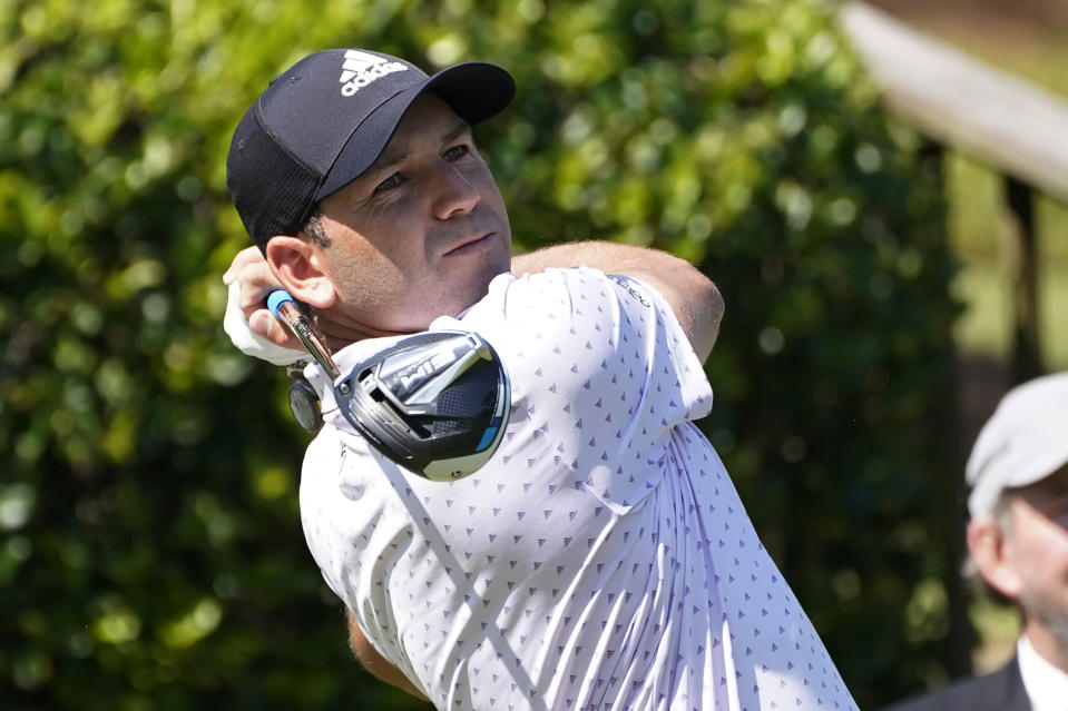 Sergio Garcia of Spain watches his drive from the first tee during the first round of the Sanderson Farms Championship golf tournament in Jackson, Miss., Thursday, Oct. 1, 2020. (AP Photo/Rogelio V. Solis)